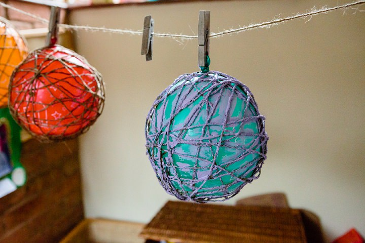egg-filled twine balls