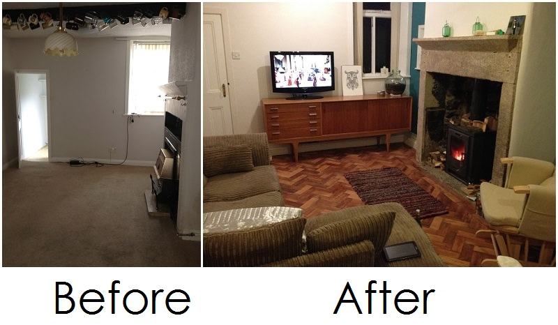 Real Homes Before And After Suzanne Mike S 250 Year Old Cottage Renovation The Living Room