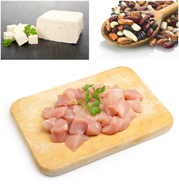 raw tofu, beans and chicken