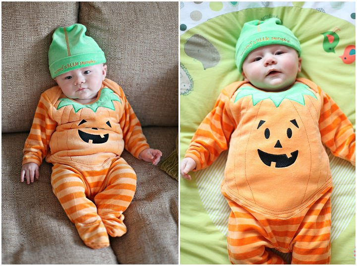 1 baby in pumpkin outfit