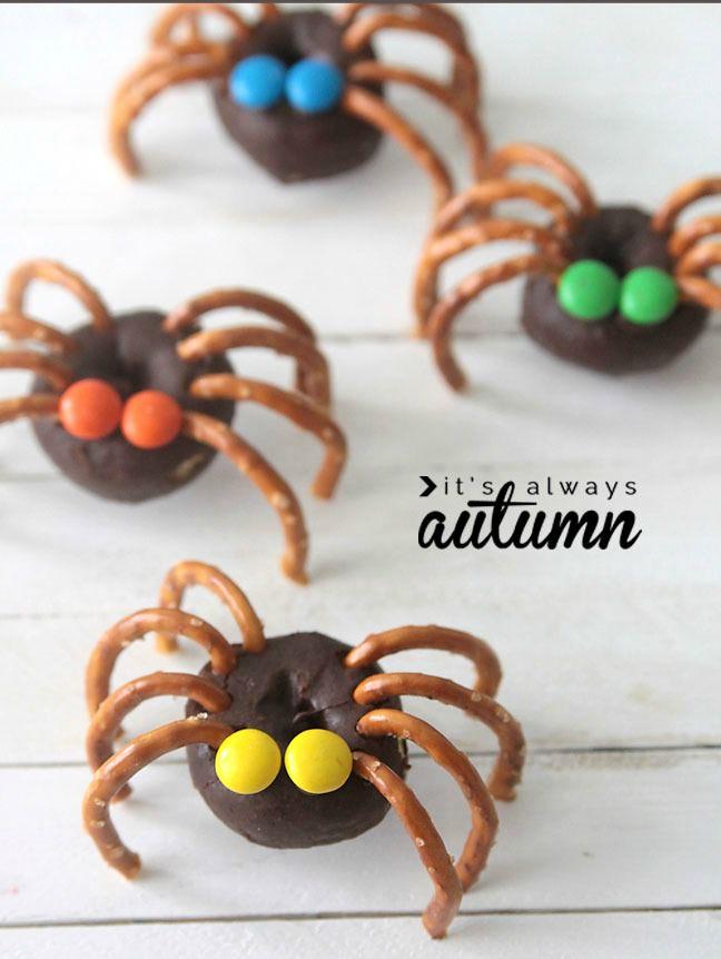 donut-pretzel-spiders-halloween-treat-kids-easy-fun
