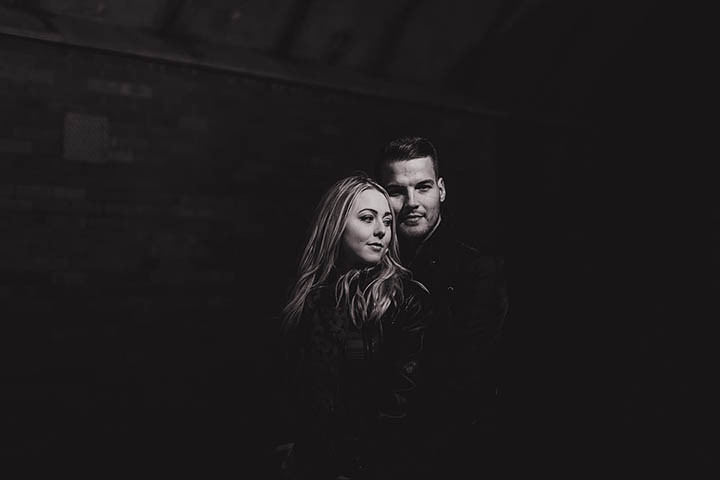 Lauren + Lee's urban and industrial Leeds city centre pre wedding shoot.