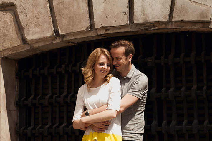 Leah + Rich's urban London pre wedding shoot around Barbican.
